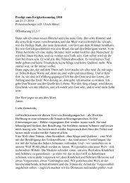 Predigt zum Ewigkeitssonntag 2010 am 21.11.2010 ...