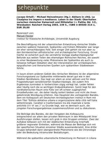 Jacopo Ortalli / Michael Heinzelmann (Hg.): Abitare in ... - Sehepunkte