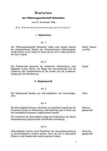 Statuten - Offiziersgesellschaft Nidwalden