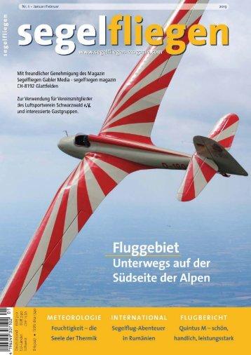 """Bericht im Magazin segelfliegen: """"Schwarzwälder Streckenflugmekka"""""""