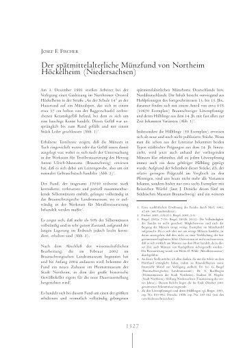 Der spätmittelalterliche Münzfund von Northeim Höckelheim ...