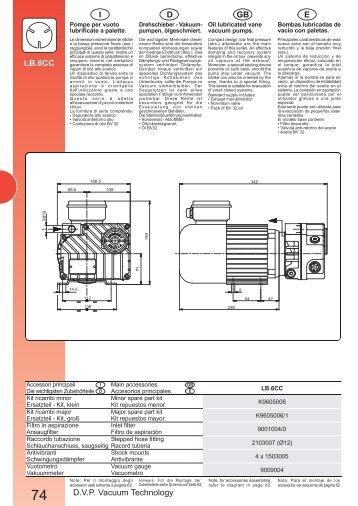 D.V.P. Vacuum Technology E GB D I LB.6CC - MARCO PUMPS