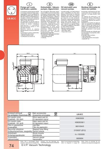 D.V.P. Vacuum Technology E GB D I LB.6CC - MARCO PUMPS