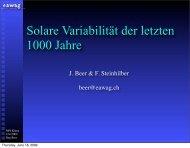 Solare Variabilität der letzten 1000 Jahre - NCCR Climate