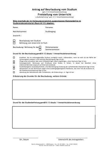 Antrag auf Beurlaubung vom Studium - Hochschule für Musik und ...