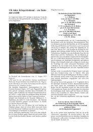 130 Jahre Kriegerdenkmal – ein Denk- mal erzählt - Striegistal