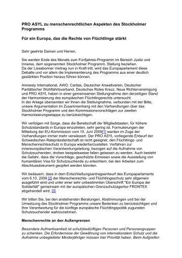 Schreiben von PRO ASYL an die bundesdeutschen Mitglieder des ...