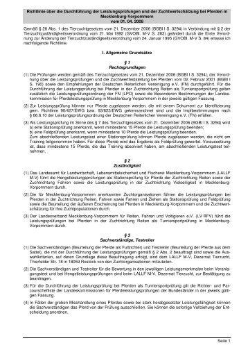 Richtlinie über die Durchführung der Leistungsprüfungen und der ...