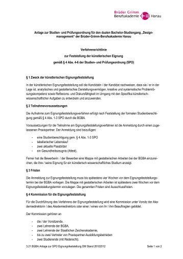 bgba anlage eignungsfeststellung designmanagement - Gebruder Grimm Lebenslauf