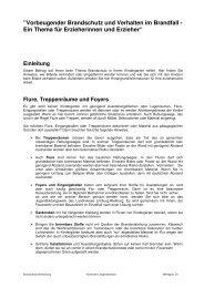 Verhalten im Brandfall / Merkblatt für Erzieherinnen und Erzieher
