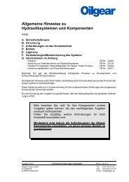Allgemeine Hinweise zu Hydrauliksystemen und Komponenten