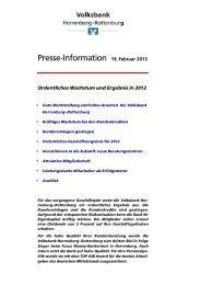 Entwicklung im vergangenen Geschäftsjahr 2012 - Volksbank ...
