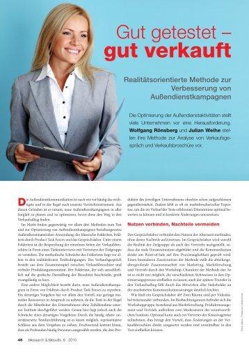 Research & Results, Ausgabe 06/2010 - Dr. Rönsberg GmbH