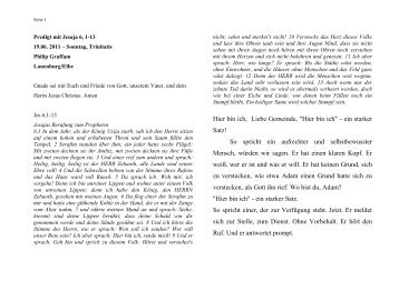 Predigt mit Jesaja 6, 1-13 vom 19.06. 2011 - ev. Kirche in Lauenburg