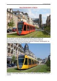 Trams in Reims, Strasbourg und (RegioTrams) in Mulhouse