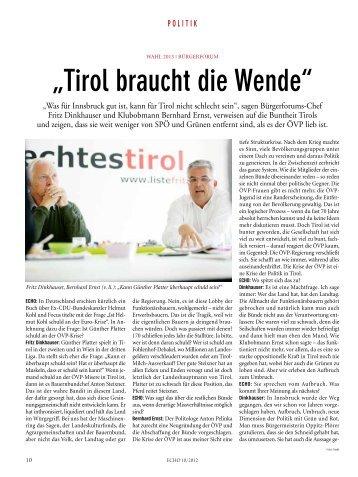 """""""tirol braucht die Wende"""" - Liste Fritz"""