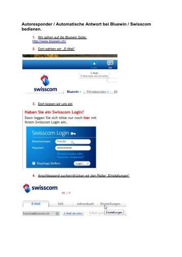 Autoresponder / Automatische Antwort bei Bluewin ... - comwerk.ch