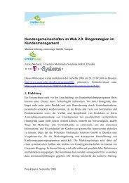 2006/11 Kundengemeinschaften im Web 2.0 ... - centrestage.de