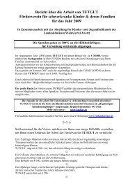 Bericht über die Arbeit von TUTGUT Förderverein für schwerkranke ...