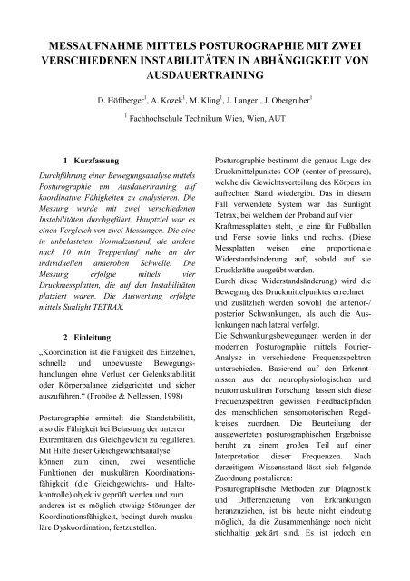 messaufnahme mittels posturographie mit zwei ... - Julian Langer