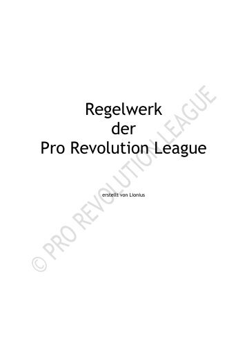 Regelwerk der Pro Revolution League