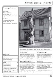 Kulturelle Bildung - Kreativität - Volkshochschule Ostkreis Hannover
