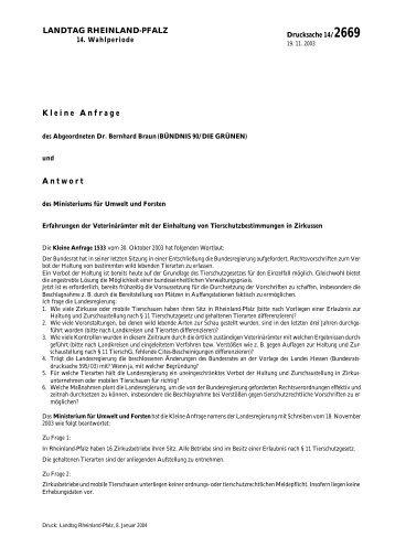 14/2669 - Ministerium für Umwelt, Landwirtschaft,Ernährung ...