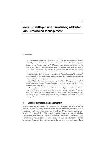 Ziele, Grundlagen und Einsatzmöglichkeiten von Turnaround ...