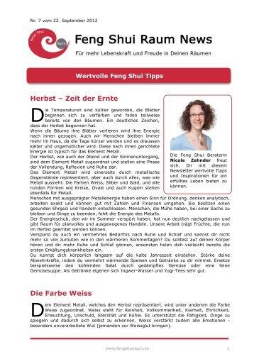 Feng Shui Newsletter 7 - Nicole Zehnder