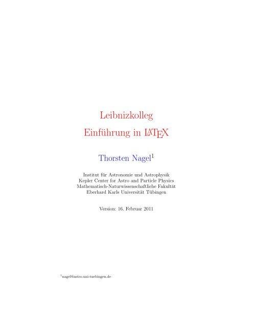 Leibnizkolleg Einführung In Latex Universität Tübingen
