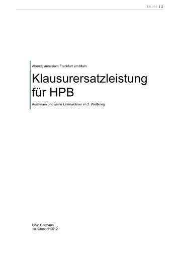 Klausurersatzleistung für HPB - Abendgymnasium Frankfurt