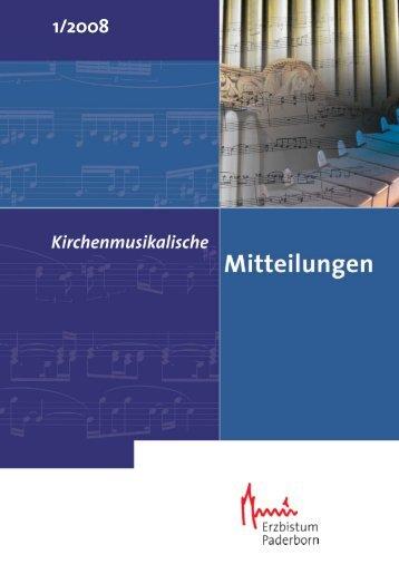 Inhalt IPD_1_2008 - Kirchenmusik im Erzbistum Paderborn