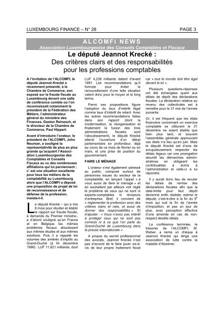 Luxembourg Finance N 28 Page 3 Alcomfi