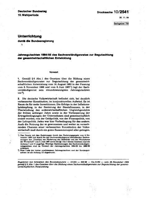 Jahresgutachten 1984/85 - Sachverständigenrat zur Begutachtung ...