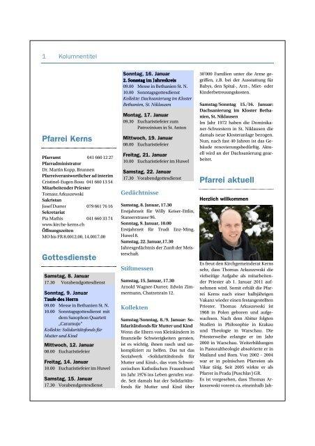 Pfarrblatt vom 9.01. bis 22.01.2011 - Kirche Kerns