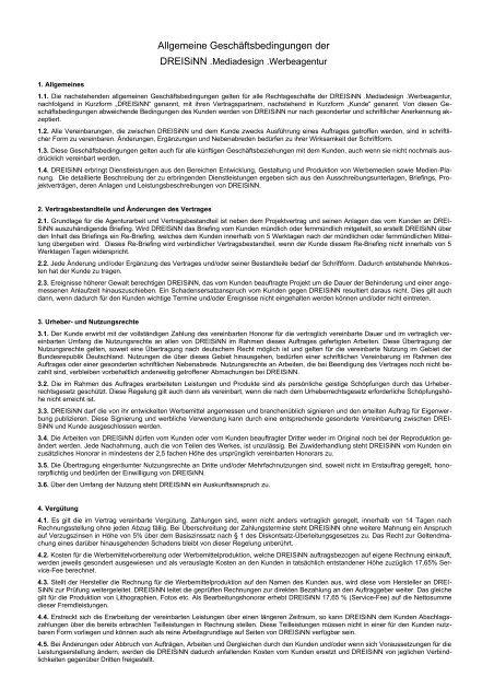 Muster Agb Für Werbeagenturen Dreisinn