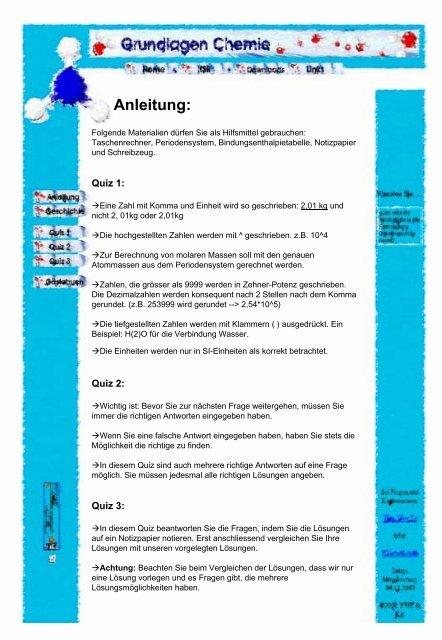 Anleitung Zum Quiz Konstanten Und Pflummname