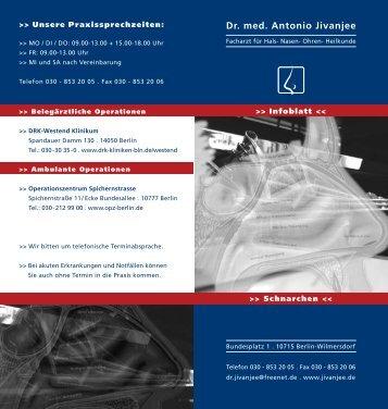 Infoblatt Schnarchen - Dr. A. Jivanjee