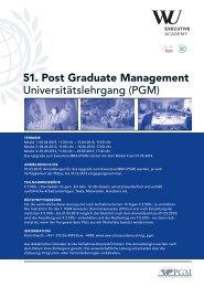 Beiblatt Universitätslehrgang PGM - WU Executive Academy