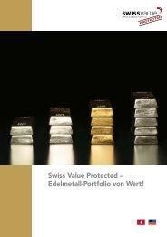 Swiss Value Protected – Edelmetall-Portfolio von Wert!