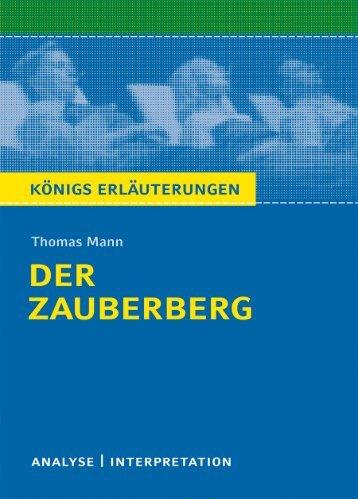 """Textanalyse und Interpretation zu Thomas Mann, """"Der ... - Die Onleihe"""