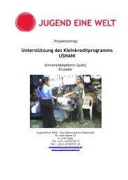 Unterstützung des Kleinkreditprogramms USHANI - Jugend Eine Welt