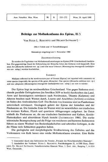 Beiträge zur Molluskenfauna des Epirus, II.1)