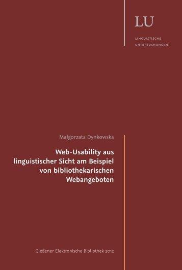 [Unlocked] Web-Usability aus linguistischer Sicht am Beispiel von ...