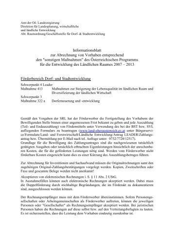 Informationsblatt - Abrechnung von Vorhaben im Förderbereich Dorf