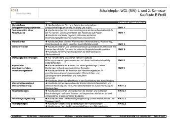 Schullehrplan WG1 (RW) 1. und 2. Semester Kaufleute E-Profil