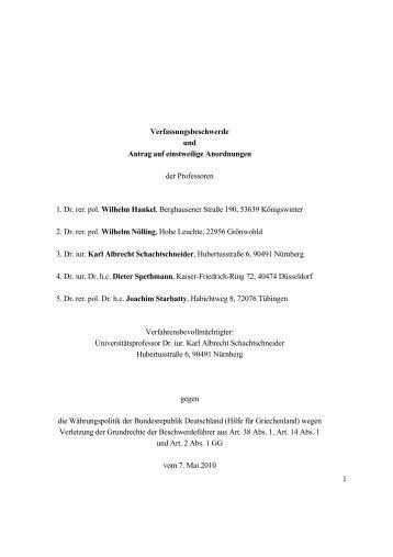 Verfassungsbeschwerde gegen Griechenlandfinanzhilfe