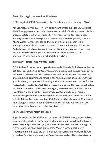 Medienbericht - Radfahrer Verein Wetzikon