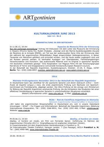 Kulturkalender Juni 2013 - Embajada de la República Argentina en ...