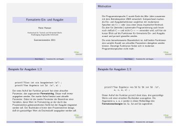 Formatierte Ein- und Ausgabe - Hochschule für Technik und ...
